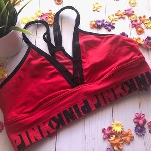 Pink by VS Cool & Comfy Strappy Bralette, Large